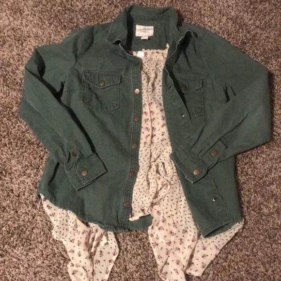 Forever 21 Jackets & Blazers - Green army jacket and sheer floral tank size S